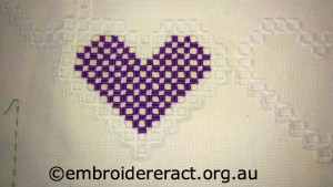 Hardanger Purple Heart Piece in progress stitched by Elizabeth Hooper