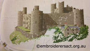 Harlech Castle Cross Stitch in Progress by Gwynyth Peddey