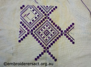 Macedonian Style Embroidery in Progress stitched by Margaret OBeirne