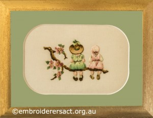 Miniature Victorian Children on a Branch stitched by Evelyn Foster