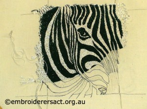 Or Nue Zebra in Progess by Lorna Loveland