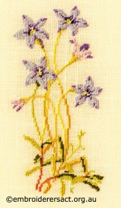 Royal Blue Bell stitched by Kay Reid