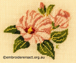 Sturts Desert Rose stitched by Kay Reid
