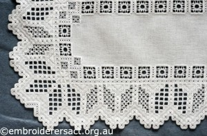 Detail 1 of Hardanger Table Runner stitched by Meryl Fellows