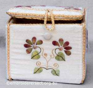 Detail 1 of Small Box with flowers stitched by Diana Churchill