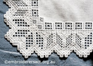 Detail 2 of Hardanger Table Runner stitched by Meryl Fellows