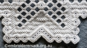 Detail 3 of Hardanger Table Runner stitched by Meryl Fellows