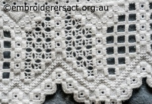 Detail 4 of Hardanger Table Runner stitched by Meryl Fellows