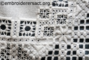 Detail 5 of Hardanger Table Runner stitched by Meryl Fellows