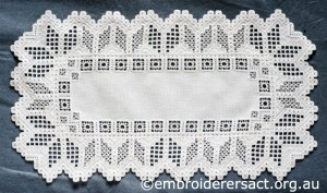 Hardanger Table Runner stitched by Meryl Fellows