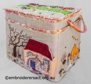 Side 1 of Large Embroidered Box stitched by Diana Churchill