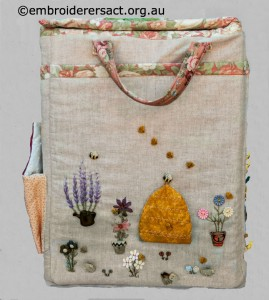 Side 2 of Large Embroidered Box sticthed by Diana Churchill