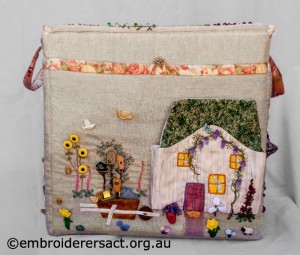 Side 3 of Large Embroidered Box stitched by Diana Churchill