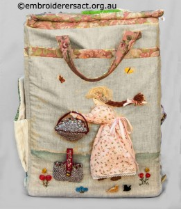 Side 4 of Large Embroidered Box stitched by Diana Churchill