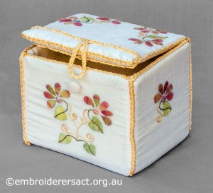 Small Box with Flowers stitched by Diana Churchill