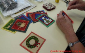 Counted x stitch Xmas card panels by Tina Korda
