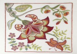 Example of scarlet glory crewelwork