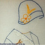 Lady in Blue Hat stitchery by Doreen Grey