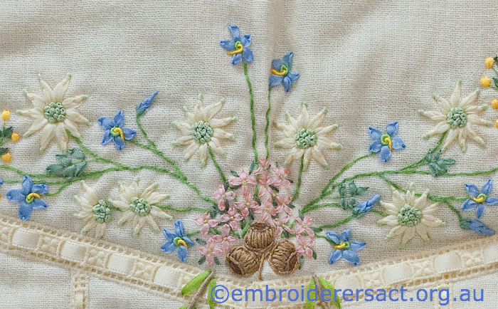 Aust wildflowers detail on waistcoat in Guild's Collection