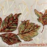Autumn in Canberra stitched postcard by L. Jemesen