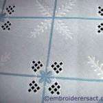 Blue & white Hardanger tablecloth