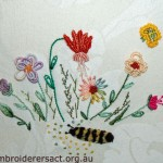 Brazilian embroidery cushion stitched by Sue Scorgie