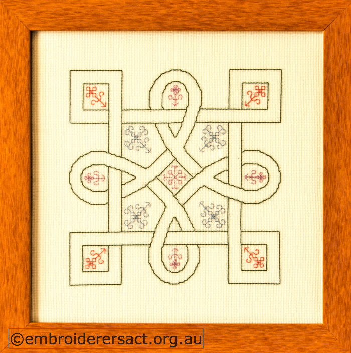 Celtic Knot stitched in blackwork