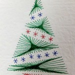 Xmas Tree stitched on paper