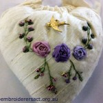 Cream embroidered Heart