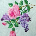 Roses & Lilacs stitched by Anne Eccleston