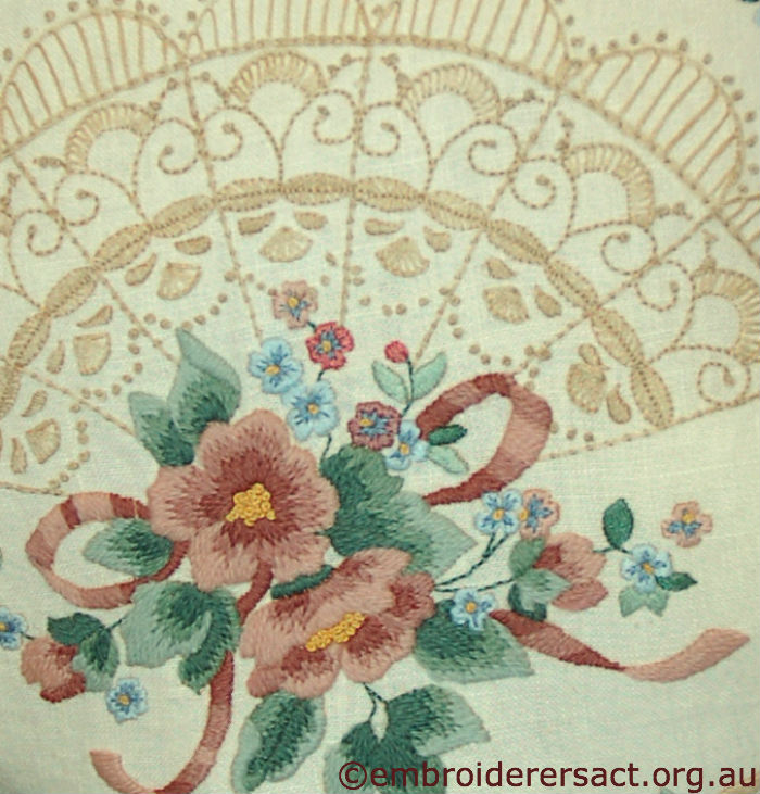 Detail Antique Fan Pillow stitched by Gail Haidon