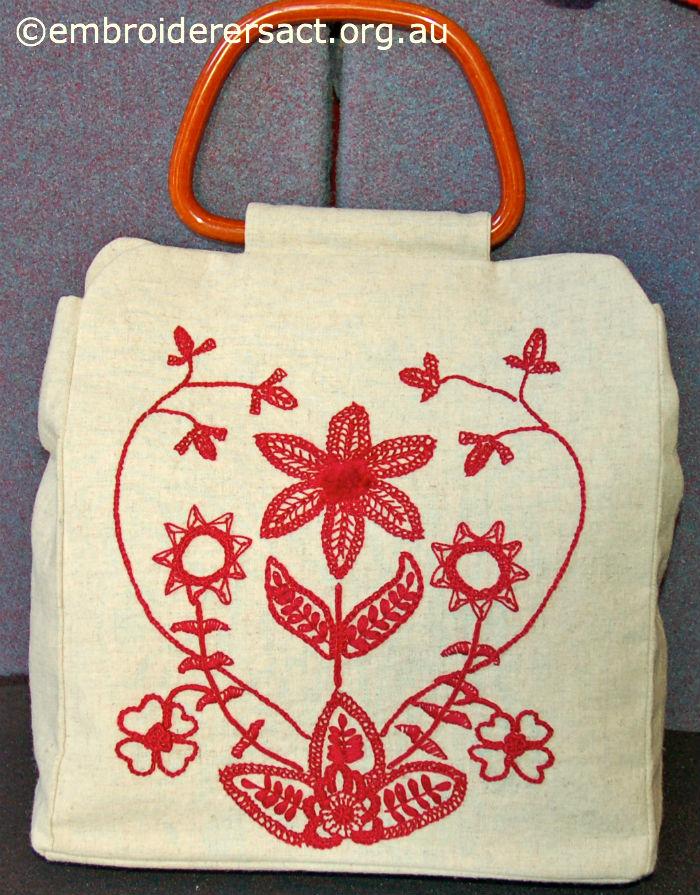 Garnet Crewel work bag