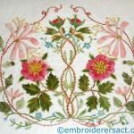 Briar Rose Crewel Cushion stitched by Lee Scott