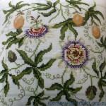 Passion Flower X-stitch cushion
