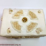 Cream Box Lid with Stumpwork elements