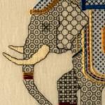 Blackwork & Goldwork embroidered Elephant