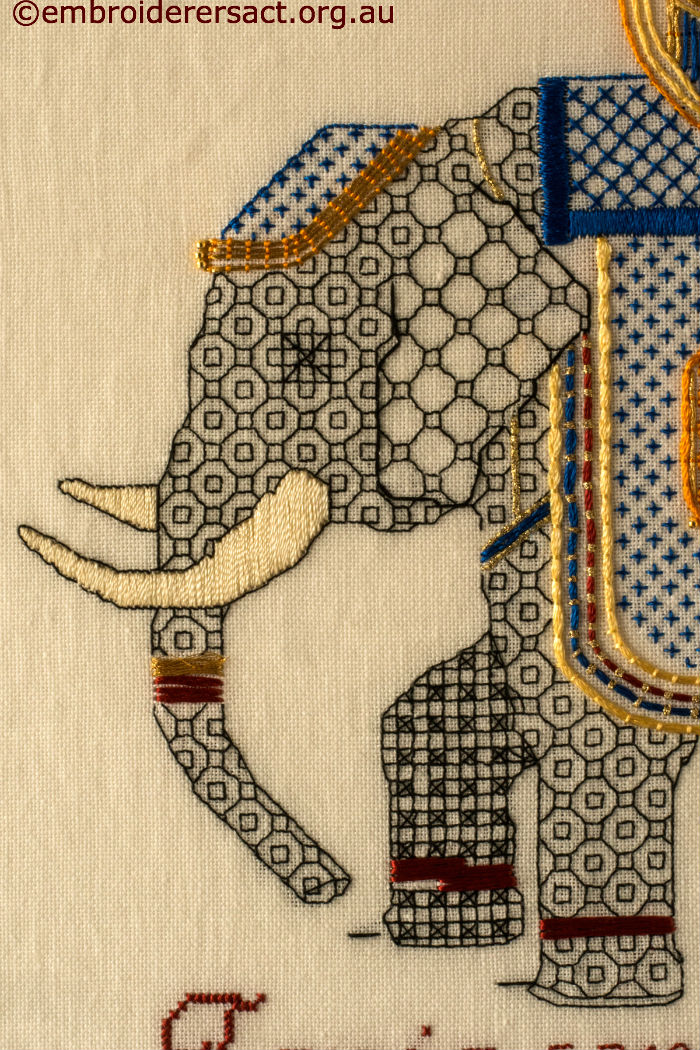 Blackwork & Goldwork embroidered Elephant