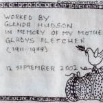 Quilt label by Glenda Hudson