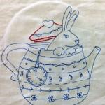 Rabbit in Teapot Stitchery