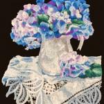 Wool embroidery of Hydrangeas